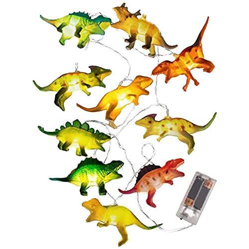 Luces LED de Dinosaurio Ambiente Luminosa Luz de Noche Adornos Dormitorio Bebé Luz de Dinosaurio Cadena de Luz de Dinosaurio Niños Regalo Dibujos Animados Luces Decoraciones - 10 LED