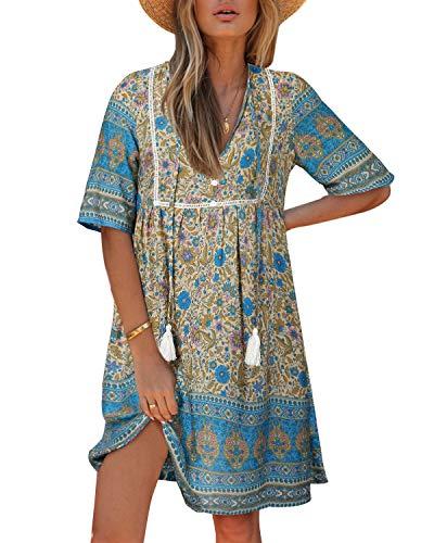 Kidsform Damen Kleider Tshirt Kleid Kurzarm Tunika Boho Blumen Sommerkleid für Damen V-Ausschnitt Minikleid Shirt Lose S-Blau S