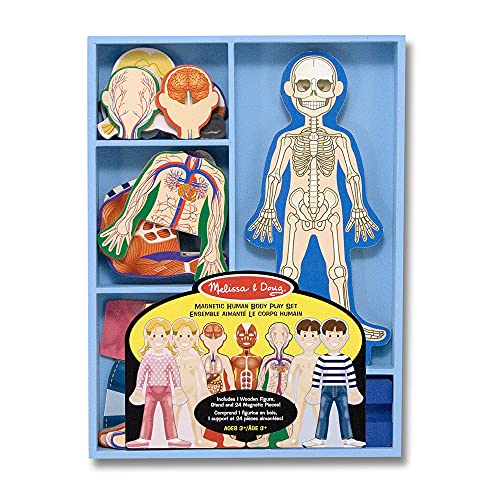 Melissa & Doug Magnetic Human Body Anatomy Play Set With 24 Magnetic Pieces and Storage Tray
