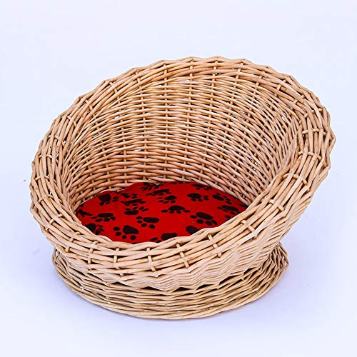 CHL Pet Bed wicker kennel fashion simple Cat litter straw small animal Bed wicker rattan kennel Bed-10.20 (Color : 1)