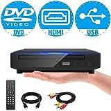 ミニDVDプレーヤー 1080Pサポート DVD/CD再生専用モデル HDMI端子搭載 CPRM対応、録画した番組や地上デジタル放送を再生する、USB、AV / HDMIケーブルが付属し、テレビに接続できます、リモコン、日本語説明書付き