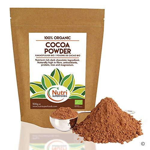 Poudre de cacao biologique - Végétalien, chocolat noir pur Ingrédients - Non sucré idéal pour la cuisson, chocolat chaud et smoothies - 400g