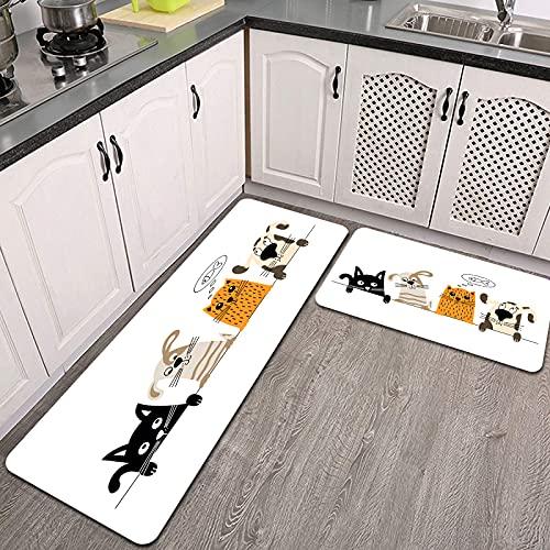 Juegos de alfombras de Cocina,Perro Gracioso Lindo Gato Amigos,Antideslizantes Lavables de 2 Piezas Alfombra súper Absorbente