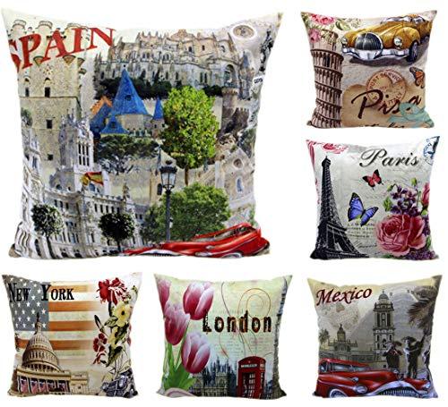 MONTANCHEZZ - Set di 6 federe per cuscino, 45 x 45 cm, stampa digitale, consistenza setosa, stile moderno, con federa per cuscino (città)
