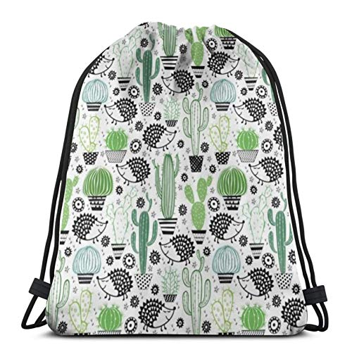 Cartoon Inspired Drawing Of Cute Hedgehog Animals Saguaro And Prickly Pear Drawstring Backpack Sport Bags Cinch Tote Bags For Traveling And Storage For Men And Women 17X14 Inch