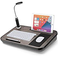 Loryergo Lap Desk with Pillow Cushion with Light & Mouse Pad Fits