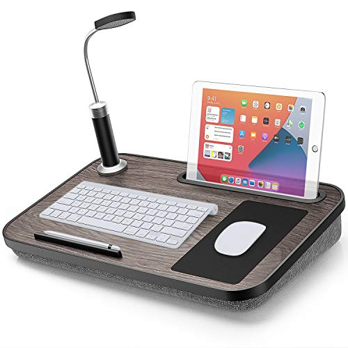 Lap Desk with Pillow Cushion Portable Lap Desk for Laptop with Light & Mouse Pad Fits up to 15.6' Laptops w Phone/iPad Slot for Reading, Writing by LORYERGO