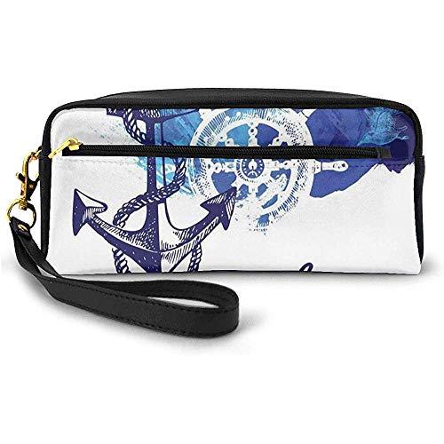 Océan Vif Dos avec Effet de Peinture avec Rose des Vents et gouvernail de croisière mer thème Image Petit Sac de Maquillage étui à Crayons 20 cm * 5,5 cm * 8,5 cm