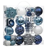 Valery Madelyn 70ct Winter Wishes Shatterproof Christmas Ball Ornaments Decoration New Blue Silver, Themed with Tree Skirt(Not Included)