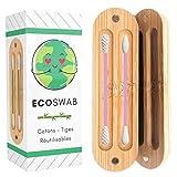 EcoSwab - Varilla de algodón reutilizable para las orejas, almohadillas lavables de silicona y caja de bambú orgánico, cero residuos, kit de 2 algas ecológicas para la oreja y maquillaje (rosa)