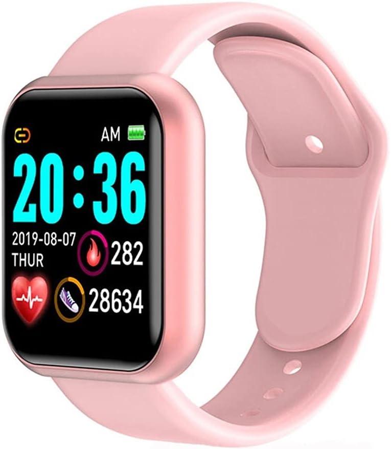 Digital Smart Sport Watch Relojes Mujeres Reloj de Pulsera electrónica Digital Bluetooth Fitness Wristwatch Hombres (Color : Pink)