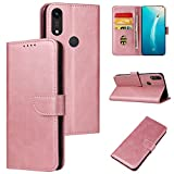ANCASE Funda de Cuero Compatible con Huawei P30 Lite Oro Rosa con Tapa Libro PU Case Cover Completa Protectora Funda para Teléfono Piel Tarjetero Modelo