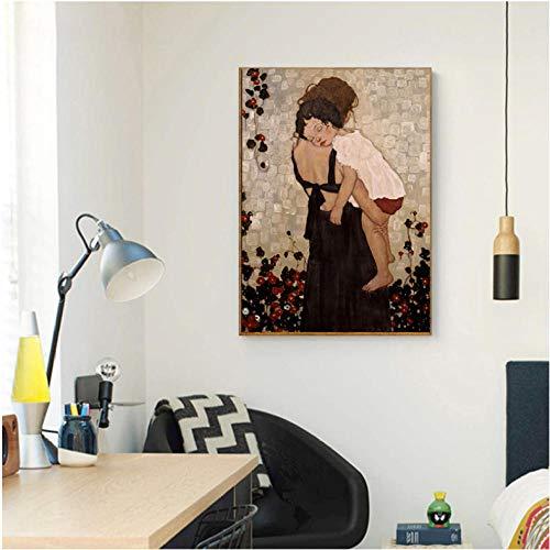 Modem Home Decor Xi Pan Moeder en Kind Canvas Schilderij Figuur Prints en Posters Op Canvas Wandfoto voor Woonkamer 50 * 70 ongekweekt