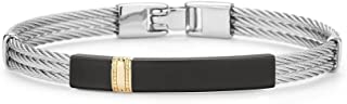 ALOR Men's Grey Cable With Yellow Gold And Black Stainless Steel Center Accent Bangle Bracelet, 7.75