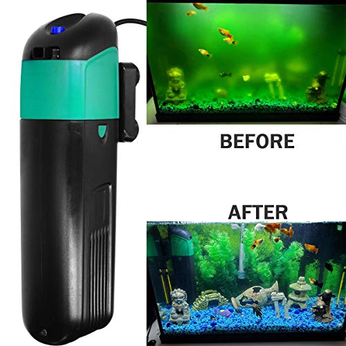 YADICO Aquarium Green Water Killer Filter Pump 9W 200GPH for Fish and Plant Tank