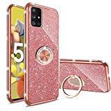 Samsung Galaxy A71 5G Mobile Phone Case Flash Diamond Ultrathin Silicone Soft Case with Flash Diamond Stand, Samsung A71 5G Mobile Case (not Applicable to A71 4G) (Rose Gold)