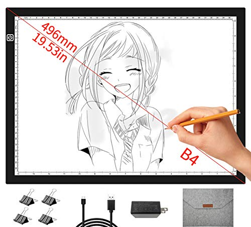 B4 Plus Light pad with Protective Storage Bag and Charger, 15.8×11.8inch Large LED Light Board for Drawing, Super Bright 4500 Lux Dimmable Light Box widely Used for Tracing Sketching etc