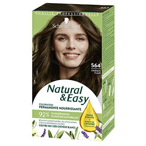 Schwarzkopf - Natural & Easy - Coloration Permanente Naturelle Cheveux - Huile d'olive et Extrait de Lavande - 93 % d'ingrédients d'origine naturelle - Châtain Clair 564