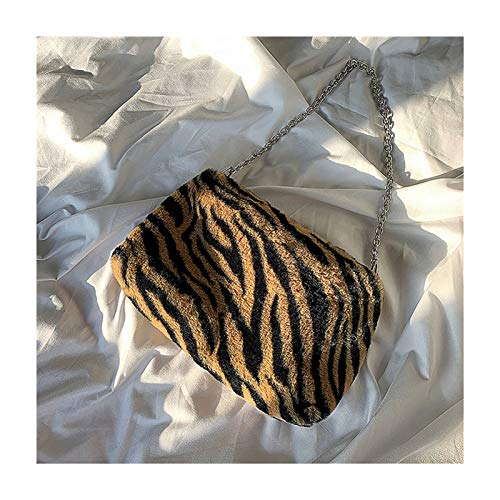 ZGBQ Flauschige Taschen, modische Herbst- und Winterpelze Weiche Tiermuster Einschulterige Pelztaschen, 2020 Neue trendige Umhängetaschen (Braunes Zebramuster)