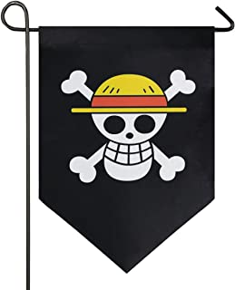 Oarencol Anime One Piece Pirate Straw Hat Garden Flag Double Sided Home Yard Decor Banner Outdoor 12.5 x 18 Inch