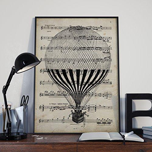 Nacnic Lámina Poster Globo Vintage de partituras. Ilustracion sobre Antiguas partituras Amantes de la música. Tamaño A3