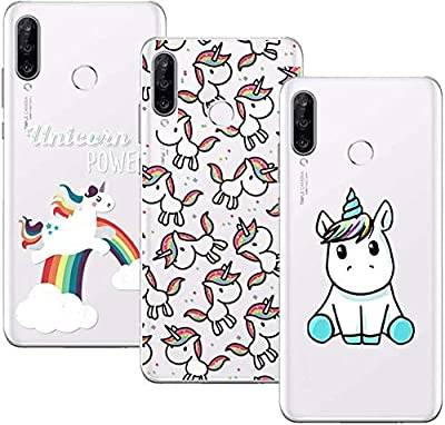 Young & Ming Funda para Honor 20S/Huawei P30 Lite, (3 Pack) Transparente Ultrafina Carcasa Delgado antigolpes Resistente, Unicornio
