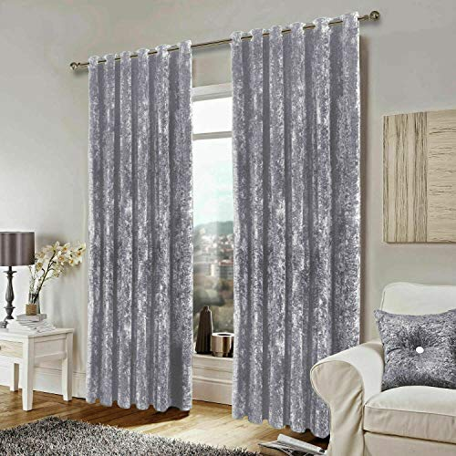 GonZalo GraCia. Silver Grey Santiago Heavy Crushed Soft Velvet Ring Top Eyelet Curtains PAIR (66'x54')