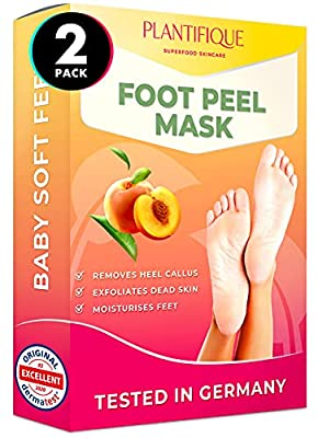 Foot Peel Mask - Peach Feet Peeling Mask 2 Pack - Dermatologically Tested, Cracked Heel Repair, Dead Skin Remover for Baby Soft Feet - Exfoliating Peel Natural Treatment by Plantifique by Plantifique