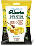 Ricola Dual Action Cough Suppressant & Oral Anesthetic Throat Drops, Honey Lemon, 19 Drops, Fights Coughs Naturally, Soothes Throats