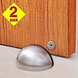 Tope para puerta, topes magnéticos de acero inoxidable, cierre magnético para puerta, cinta adhesiva 3M, sin taladrar, 2 formas de instalar, resistente, moderno y suave, cierre magnético, 2 unidades