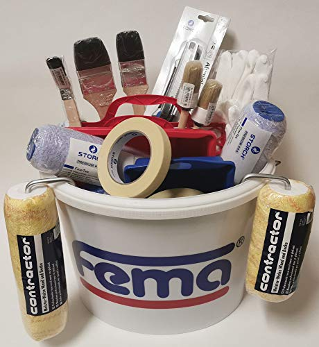 25 tlg. PROFI Maler SET Malerset Malerwerkzeug Farbeimer Farbroller Bügel Pinsel Farbwanne