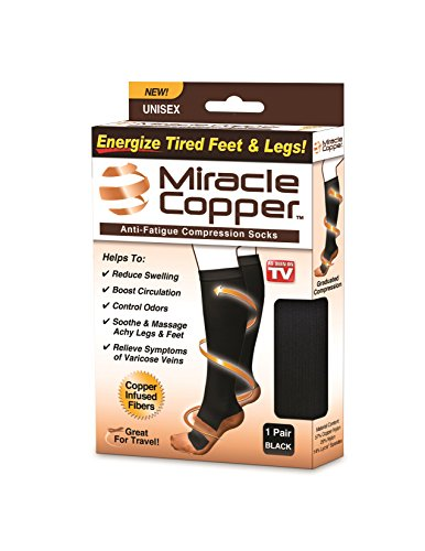 Miracle Copper Anti-Fatigue Copper Infused Compression Socks, Large/XL Size, As Seen on TV
