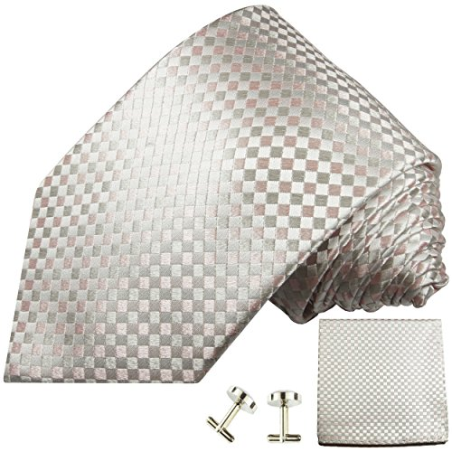 Cravate à carreaux rose d'argent ensemble de cravate 3 Pièces (100% Soie Cravate + Mouchoir + Boutons de manchette)