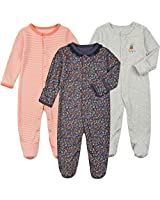 Baby Footed Pajamas with Mittens - 3 Pcs Snap Cotton Baby Girls' One-Piece Footies Onesie Pjs Sleep Play Outfit(Stripe&Grey&Navy, 0-3 Months)