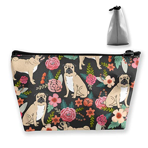 Trapezoid Makeup Pouch Storage Holder Pug Flower Womens Travel Case Cosmetic Makeup Pouch