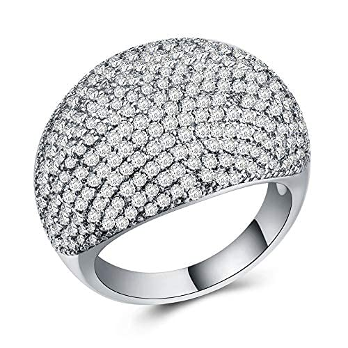 Anillo de cúpula de diamante para mujer, anillo de boda con circonita cúbica para mujer
