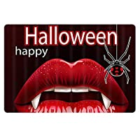 ハッピーハロウィン赤い唇玄関マットペットフロアマットカーペット家の装飾キッチンバスルームベッドルームリビングルーム60cm x 40cm