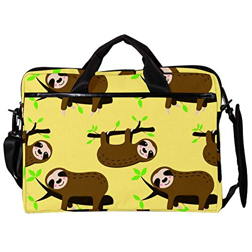 15 inch Laptop Computer Tablet Sleeve Briefcase Shoulder Bag Carrying Case for Women and Men with Sleeping Sloth On Brunch