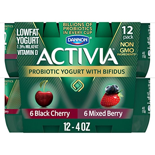 Dannon Activia Black Cherry/Mixed Berry Yogurt, 4 oz (12 pack)