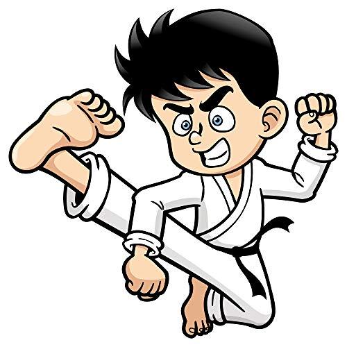 dekodino® Wandtattoo Kampfsport Karate Schüler Comic Look Jugendzimmer Deko