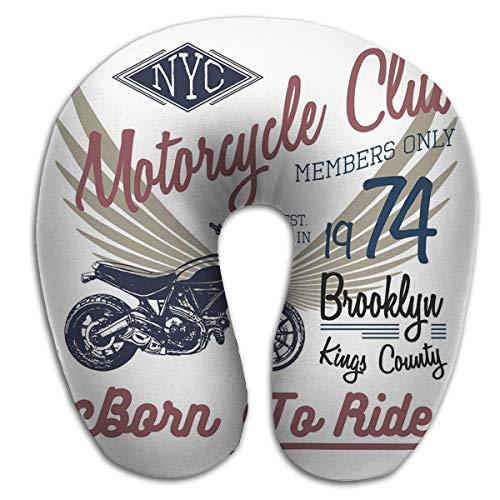 Almohada de Viaje en Forma de U Buen Soporte para el Cuello y la Espalda Tipografía Motocicleta NYC Impresión Tipográfica New York Riders Diseño gráfico
