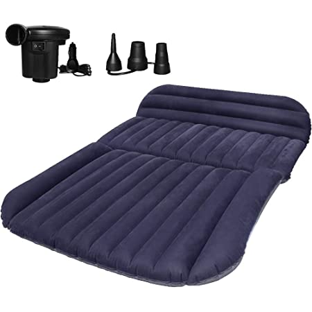 Globalqi Car Air Mattress Inflatable Back Seat Footwell Filler Sleeping Mat Air Bed Cushion With Electric Pump For Car Travel Camping Blue Sport Freizeit