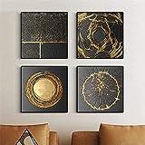 NATVVA® Abstrakter Goldener Kreis Wandkunst Leinwandbilder