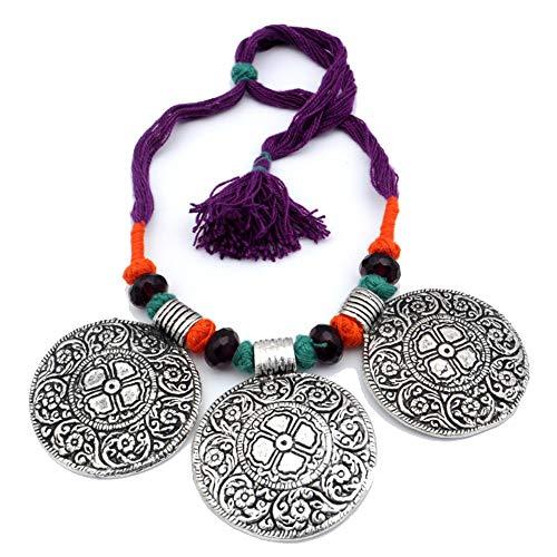 Shivi Estilo Antiguo! ¡Cuentas simuladas de Cuarzo Rojo Granate! Collar de Moda 18'de Largo, Chapado en Plata oxidada, joyería de Arte Hecho A Mano! para Mujer Collar Budista Tribal Boda