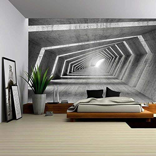 wall26 - Abstract Illuminated Empty Bent Concrete Corridor Interior, 3D Render Illustration - Removable Wall Mural | Self-Adhesive Large Wallpaper - 100x144 inches