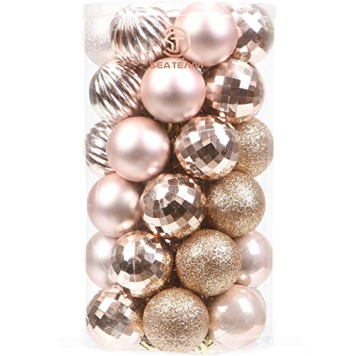 Sea Team 41-Pack Christmas Ball Ornaments with Strings, 60mm/2.36-Inch Medium Size Baubles, Shatterproof Plastic Christmas Bulbs, Hanging Decorations for Xmas Tree, Holiday, Wedding, Party, Rose Gold