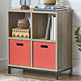 Square 4-Cube Storage Organizer with Metal Base, Rustic Gray