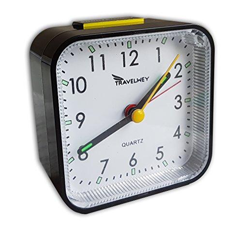 Travel Alarm Clock - No Bells, No Whistles, Battery Operated, Alarm, Snooze, Light, Black