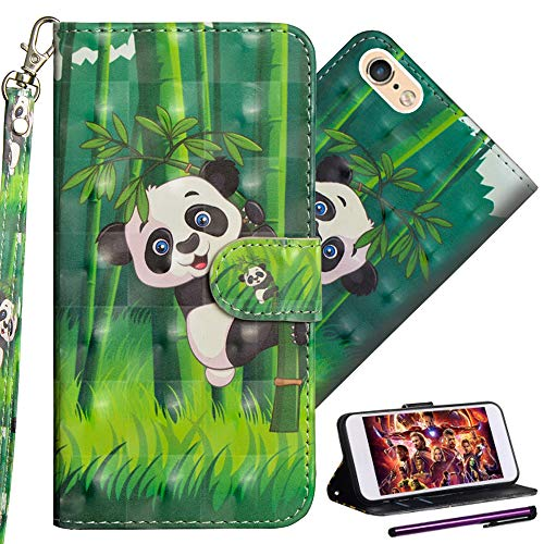 iPhone 5 Wallet Case ISADENSER iPhone SE Case with Magnetic Closure and Card Slots 3D Color Painting Book Series Full Leather Protect Flip Kickstand Case Cover for iPhone 5S 3D Bamboo Panda YX