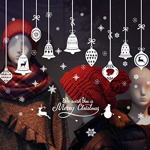 QIANS Natale Adesivi Porta Natale Vetrofanie Addobbi Fai da Te Finestra Sticker Decorazione Babbo...